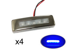 Pactrade Marine 4pcs Boat Trailer Rv Ss304 Courtesy Led Light Blue Top Ip67