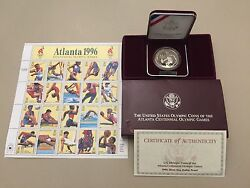 1996 Atlanta Centennial Olympic Games Proof Tennis Silver Dollar And 20 Us Stamps