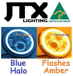 1pr 7 Led Headlights Blue Flash Amber When Turning Land Rover Series 1 2 2a 3