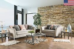 NEW Sofa And Love-seat w/ Coral Pillows Flared Arms Welting Trim Plush Couch USA
