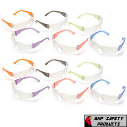 Intruder Mini Multi-color Safety Glasses - Clear Lens W/assorted Temple Colors