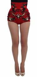 Dolce And Gabbana Shorts Red Silk Crystal Roses Hot Pants It40 / Us6 / S Rrp 3800