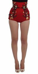 Dolce And Gabbana Shorts Red Silk Roses Sicily Hot Pants It40 / Us6 / S Rrp 3800