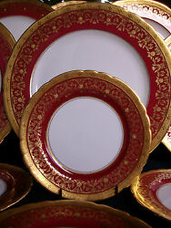 Aynsley Kenilworth Red 7023 1930's- Bread Plate S- Encrusted Gilt Rare