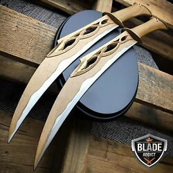 Medieval Middle Ages Cosplay Fighting Knives Replica Twin Daggers + Plaque Nib