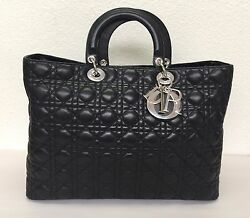 Lady Dior XLarge Lambskin Shopper Tote Bag – 100% Authentic Rare Limited Edition