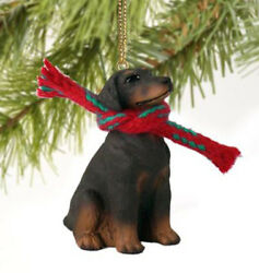 DOBERMAN PINSCHER RED DOG CHRISTMAS ORNAMENT HOLIDAY Figurine uncropped