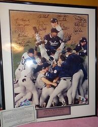 1998 New York Yankees 24 Autograph Framed And Matted 16 X 20