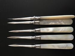 Antique Silver Seafood/nut Picks With Mother Of Pearl Handles