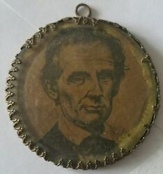 1860 Abraham Lincoln Engraving, Hand Ground Glass And Brass Campaign Pendant Token
