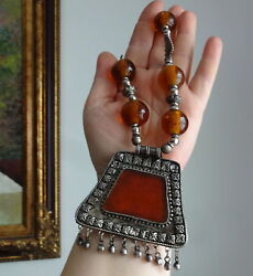 Antique Silver Moroccan Berber Ethnic Tribal Amber Glass Large Beads Necklace