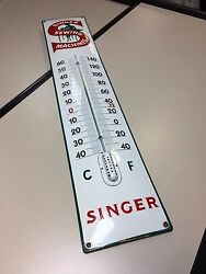 Old Vintage And Rare Singer Thermometer Porcelain Enamel Sign Perfect Condition