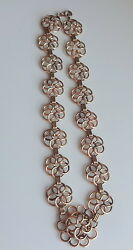 Antique Victorian Rose Gold Filled Large Fancy Wired Flowers Link Chain Necklace