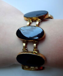 Antique Victorian Black Jet Medalions 12k Gold Filled Chunky Mourning Bracelet