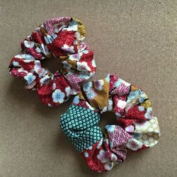 Hand made Hair Rubber Accessories Japanese style Kimono pattern