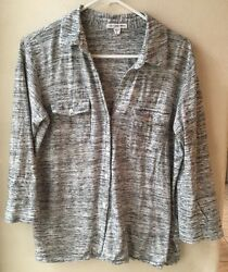 Standard James Perse Size 3 Grey White  Stripe Button Front Pockets 3/4 Sleeve