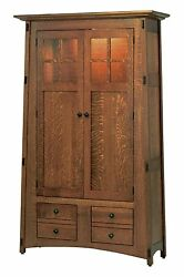 Amish Mission Arts And Crafts Bookcase Glass Doors Solid Wood Lighted Mccoy