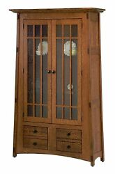 Amish Mission Arts And Crafts Bookcase Solid Wood Glass Doors Lighted Mccoy
