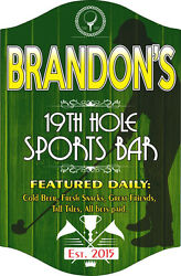 19th Hole Sports Bar Sign In Green With Golfer Silhouette And Est. Date C1328