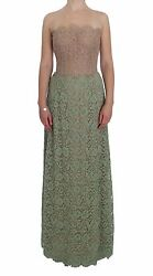 Dolce And Gabbana Dress Green Floral Lace Pink Corset Maxi It40 / Us6 /s
