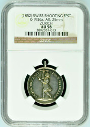 1852 Swiss Silver Shooting Medal Zurich Girl Ngc Mintage-100 R-1936a Switzerland