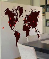 Stickerbrand World Map Vinyl Wall Decal With Location Pin Drops 873