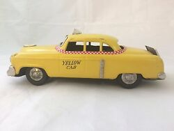 Vintage Tin Yellow Taxi Friction Toy Japan