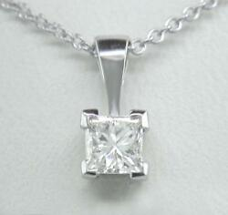 0.20ct Diamond Solitaire Platinum Pendant Princess Cut Certified D If With Chain