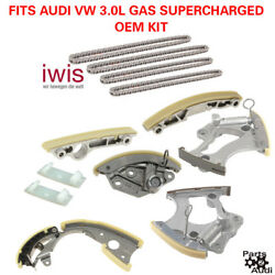 Oem Engine Timing Chain Tensioners Guide Rails Kit For Audi Vw 3.0l Supercharged