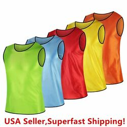 Pack Of 6 And 12 Soccer Jersey Bibs Adult Sports Team Scrimmage Training Vests