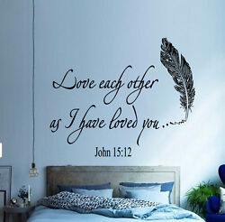 Family Wall Decal Quote Love Each Other Bible Verses Bedroom Boho Decor KI167