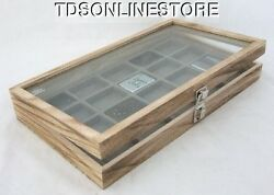 Rustic Antique Oak Color Glass Top Display Case Holds 20 Lighters Gray