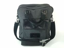 Fossil Transit Vertical Briefcase Cross Body City Bag Gray Wool Leather NEW $258
