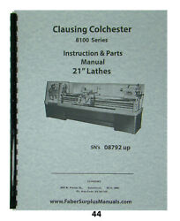 Clausing Colchester Lathe Series 8100 Model 21 Service And Parts Manual 44