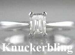 Diamond Engagement Ring 0.50ct Certified H Vs2 Vg Emerald Cut In 18ct White Gold