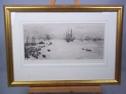 'the Bay Of Naples' Etching By William Lionel Wyllie 1851-1931, Signed