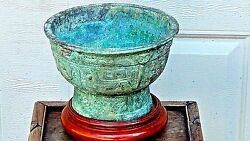 Antique Chinese Bronze Ritual Vessel In Form Of Stem Cup W/relief Taotie Masks