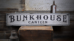 Bunkhouse Canteen Military - Rustic Handmade Vintage Wood Sign