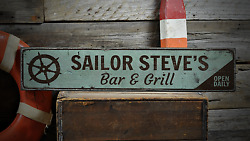 Sailor Bar And Grill Custom Bar Owner - Rustic Distressed Wood Sign