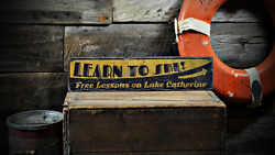 Custom Learn To Ski Free Lessons Lake House - Distressed Wooden Sign