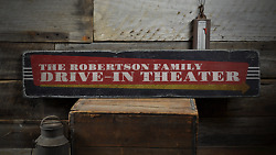 Drive-in Theater, Custom Family Name - Rustic Distressed Wood Sign