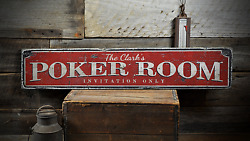 Poker Room, Invitation Only Game Room - Rustic Distressed Wood Sign