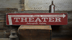 Movie Drive-in Theater, Custom City - Rustic Distressed Wood Sign