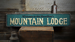 Family Mountain Lodge, Custom Welcome - Rustic Distressed Wood Sign