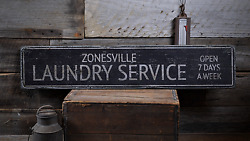 Laundry Service Custom City Name - Rustic Distressed Wood Sign
