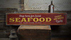 Seafood Caught And Served Daily Custom - Rustic Distressed Wood Sign