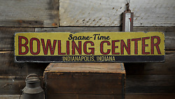 Bowling Center, Custom Spare-time - Rustic Distressed Wood Sign