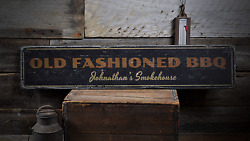 Old Fashioned Bbq Custom Smokehouse - Rustic Distressed Wood Sign