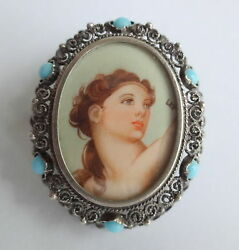 Antique Mark 800 Silver Turquoise Renaissance Medieval Lady Brooch Pin