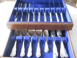 English Harrison And Howson Sterling Flatware Set For Six W/ Canister